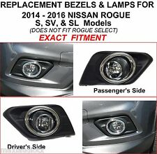 FOR 2014 2015 2016 NISSAN ROGUE OE STYLE REPLACEMENT FOG LIGHTS LAMPS  BEZELS