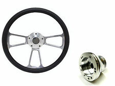 "Rhino Golf Cart 14"" Billet & Black Steering Wheel Includes Horn & Adapter"