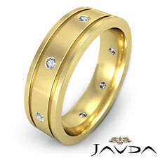 Diamond Mens Ring Flat Edged Eternity Wedding Solid Band 14k Yellow Gold 0.20Ct