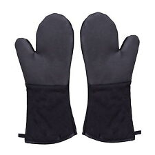 Royal Gourmet Black Heat Resistant Quilted Oven Mitts Twin Pack Silicone Gloves