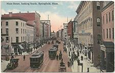 Main Street Looking South in Springfield MA Postcard