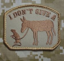 I DON'T GIVE A RATS ASS ARMY MILITARY MILSPEC MORALE DESERT CAMO VELCRO PATCH