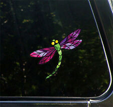 """CLR:CAR - Stained Glass Dragonfly Design 3 - Vinyl Car Decal ©YYDC(5.75""""Wx5.25""""H"""