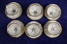 Masonic Order of the Eastern Star Lefton China OES Set of 6 Cups and Saucers