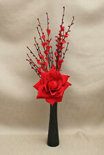 ARTIFICIAL VELVET RED ROSE AND RED FLOWER STEM IN BLACK CERAMIC VASE
