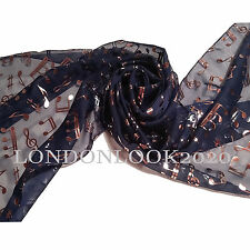 Women Ladies Gold Foil Music Note Neck Navy Scarf Shawl Wrap Lovely Colour