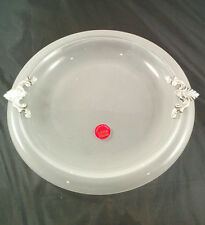 Vintage Murano Frosted Bottom Glass Candy Dish with Pewter Handles