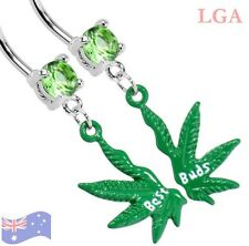 BEST BUDS BEST FRIENDS POT LEAF WEED  PAIR BELLY DANGLE SET FREE POST A