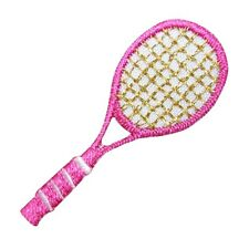 ID 1559 Pink Tennis Racket Racquet Sports Embroidered Iron On Applique Patch