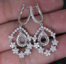 PEAR 5×7 SOLID 18K WHITE GOLD NATURAL DIAMOND SETTING SEMI EARRINGS MOUNT