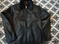 new with partial tag bhs black very soft leather zip front jacket size12 ch 39""
