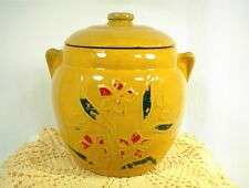 VINTAGE COOKIE JAR & LID TAN STONEWARE CROCK PAINTED FLORAL PATTERN EAR HANDLES