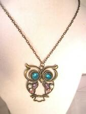 "28""  Owl Pendant Bronze Tone Metal 2"" Tall with Colorful Rhinestones on Chain"