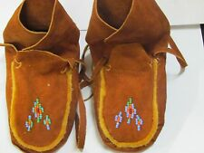 NATIVE AMERICAN MOCCASINS WRAP AROUND DARK  MOOSE HIDE  6 INCHES LONG BEADED