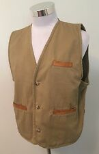 Vtg Orvis Fly Fishing Cotton Vest w/ Leather Trim Sz L