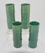 Four (4) Vintage Glazed Ceramic Libbey Green Bamboo Tiki Glass Cocktail Bar Ware