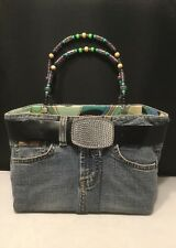 Authentic BOOTIE BAG Denim Blue Jean Handmade Purse/Tote With Hard Sides. #1911