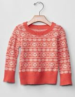 GAP Baby / Toddler Girl 18-24 Months NWT Coral Pink Fair Isle Knit Sweater