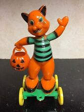 Vintage Rosbro Plastic Halloween Cat With Pumpkin Candy Container On Wheels