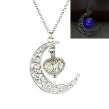 Moon Glowing Necklace Turquoise Jewelry Silver Plated Halloween Gifts Best