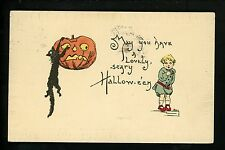Halloween Postcard Leubrie & Elkus 7010-5 1of2 Artist HBG JOL pumpkin black cat