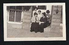 Vintage Antique Photograph Group of People Sitting on Front Porch Step