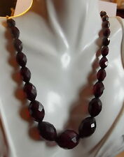 "Vintage Cherry Red Amber Faceted Graduated Oval Bead 28"" Neclace Bakelite 11c 4"