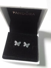 Authentic 925 Butterfly Sliver Stud Earrings #290693CZ
