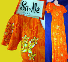 Sz 8 VINTAGE hawaiian hawaii shirt pattern PLUMERIA neon orange muumuu dress top