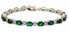 Sterling Silver Emerald And Diamond 7.86ct Tennis Bracelet (925)