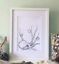 Monocromatico Kraken art print, firmata Ltd Edition, Polpo Illustrazione univoco.