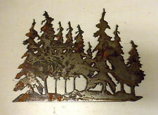 "8"" Tree Grove Forest Rusty Rough Metal Wall Art Craft Stencil Vintage Sign"