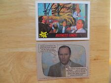 """1988 DINOSAURS """"MARS' ATTACK CARD #43 BUSINESS LUNCH SIGNED HERB TRIMPE ART, POA"""