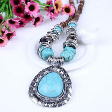 Tibet silver blue turquoise stone pendant wooden beaded necklace earrings set