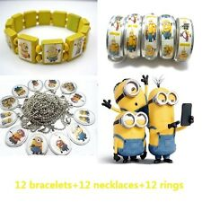 36pcs the minions mixed lot 12 bracelets 12 rings and 12 necklaces kids gift