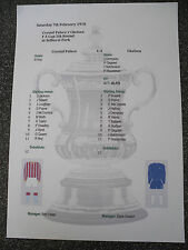 1969-70 Crystal Palace v Chelsea F A Cup 5th Round Matchsheet