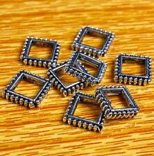 23Pc Tibetan Silver Rhombus Square Frame Loose Spacer Beads Jewelry DIY Findings