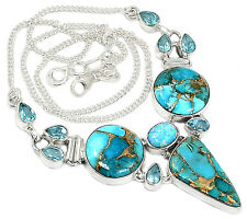 19g Blue Copper Turquoise 925 Sterling Silver Necklace Jewelry SN15401