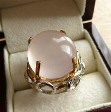 925 STERLING SILVER LARGE CHUNKY PINK ROSE QUARTZ GOLD PLATED TALL RING SZ N 7