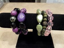 5 Purple Green and Pink Plastic and Wood Stretch Bracelet Lot H4