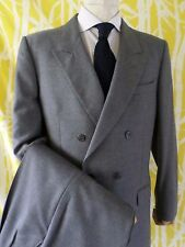 DAKS medium gray wool flannel double breasted pin stitch suit 38x31 42L