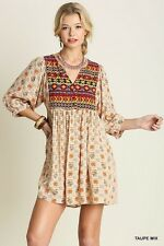 UMGEE Taupe Print Boho Tribal Navajo Southern Country Tunic Baby Doll Dress M
