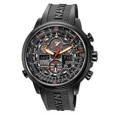 New Citizen Navihawk Atomic Perpetual Black IP Chronograph Watch JY8035-04E
