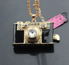 D529B   Betsey Johnson Crystal Enamel camera Pendant Sweater Necklace