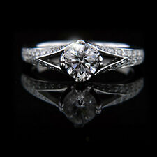 1.05 CT ROUND DIAMOND ENGAGEMENT RING 18K WHITE GOLD HALLMARKED