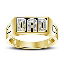 New Men's Jewelry White Diamond 14k Yellow Gold Fn in 925 Silver Men's DAD Ring