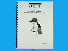 "Jet   JDS-12B Benchtop 12"" Disc Sander Owners  Manual *197"