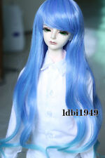 "1/4 7-8 ""LUTS Dollfie SD BJD Doll Wig Long Blue Curly Hair"