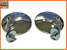 Pair Polished Stainless Steel Classic Vintage Car Convex Wing Mirrors OE Spec