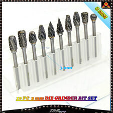 10Pcs 3mm Tungsten Solid Carbide Burrs For Dremel Rotary Burrs Tool Drill Bit